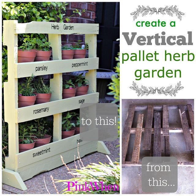 Pallets vertical herbs garden diy pallet ideas recycled for Vertical pallet garden
