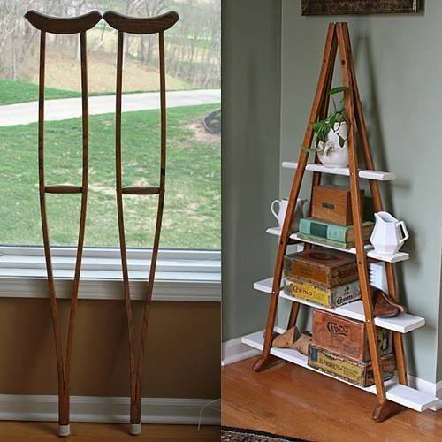 Creative Ways To Use Wood As Home Décor Pieces Within Your Home: Turn Wood Crutches Into A Bookshelf