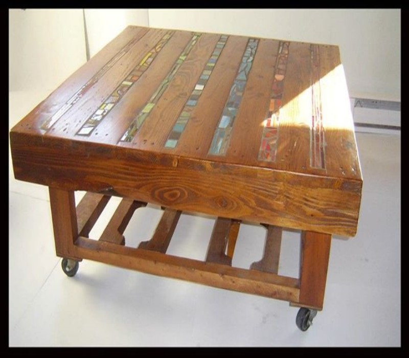 Wood Inlay Top Table Designs : Inlay of stained glass for the table top pallet wood
