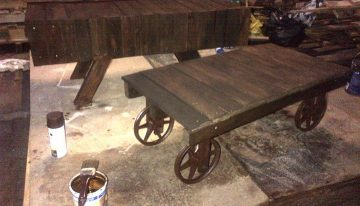 Dark Oak Picnic Table Made of Upcycled Pallets