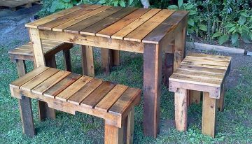 Pallets Benches and Table Set for Farm