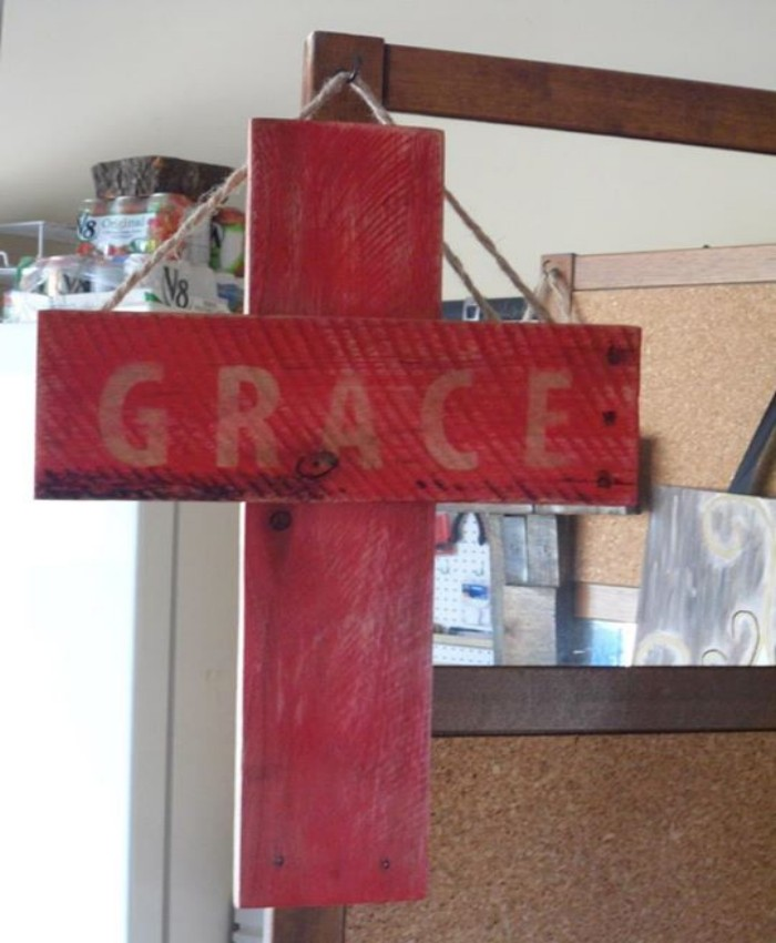 Wooden Bed Frame With Crosses