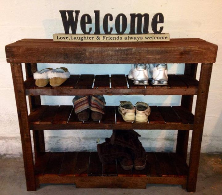 Perfect pallets shoe rack or entry table pallet ideas for Shoe rack made from pallets
