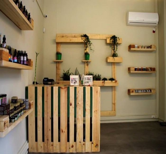 Herbal Cosmetics Store Powered With Pallets Furniture