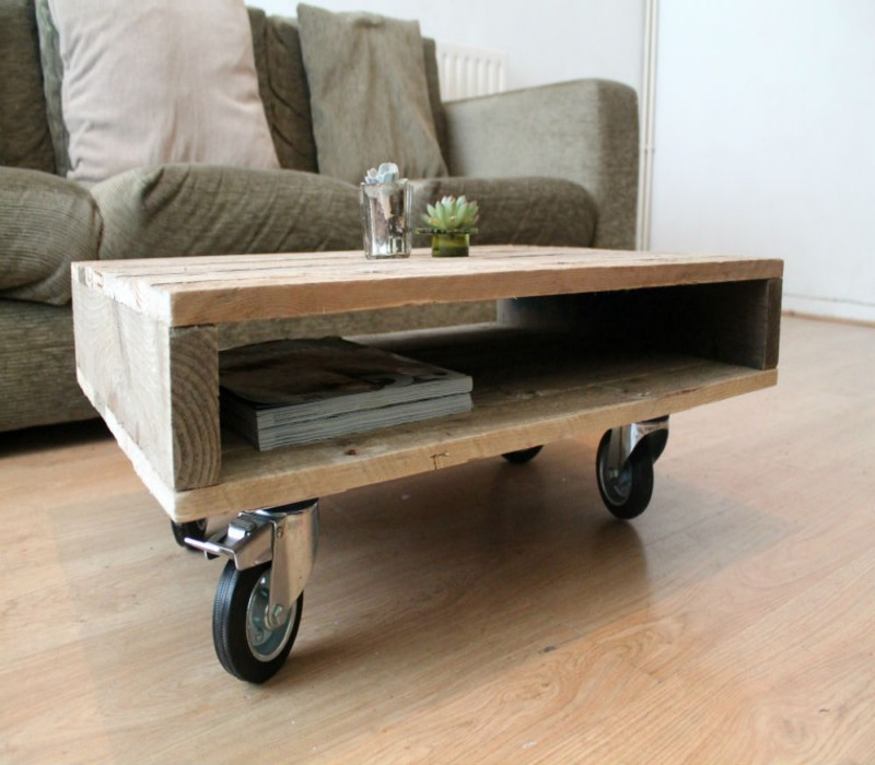 Wooden pallet coffee tables on wheels my decor home for Coffee tables on wheels