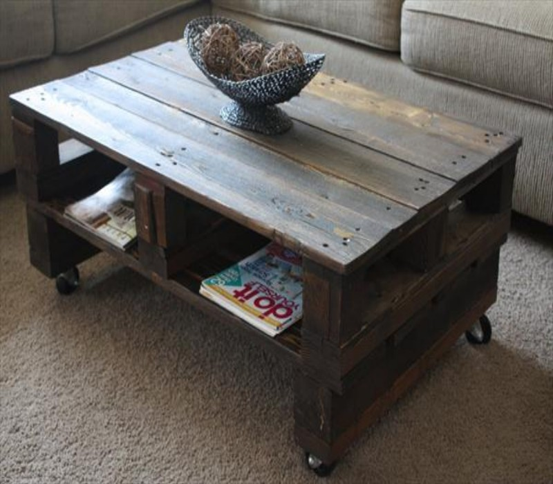 Wooden Pallet Coffee Tables On Wheels Pallet Ideas