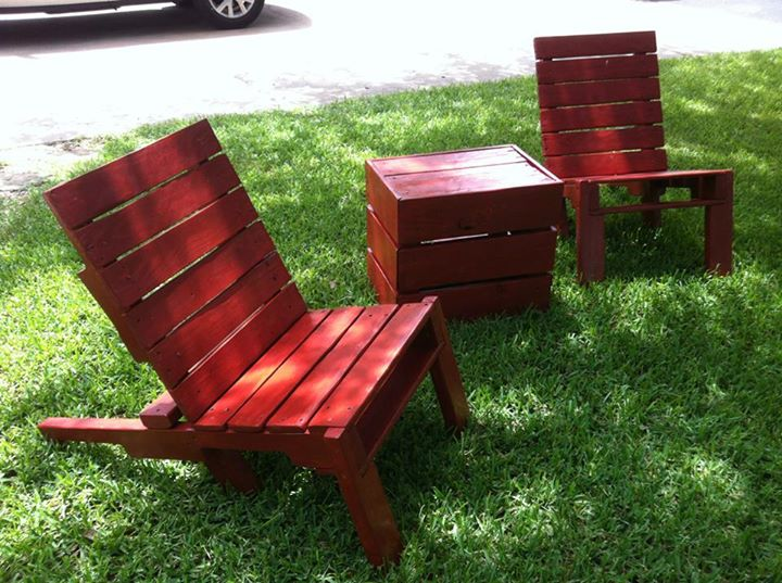 Outdoor Pallets Chairs With Stool Pallet Ideas