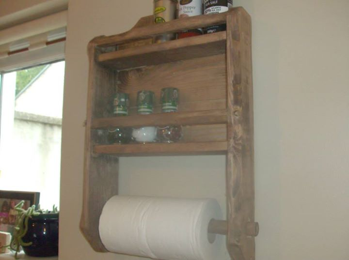 Pallets Spice Rack And Kitchen Roll Holder Pallet Ideas