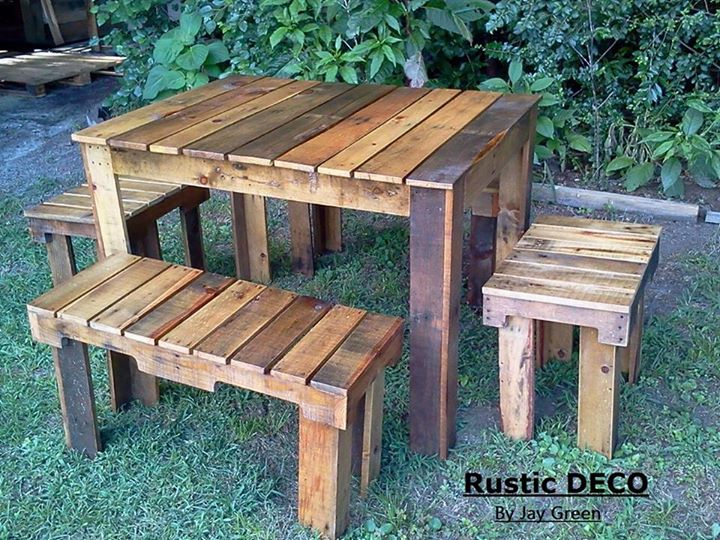 Rustic Pallets Tables And Benches Pallet Ideas Recycled