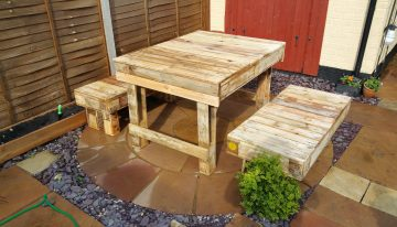 Recycled Corner Bench, Table And Pallet Bar