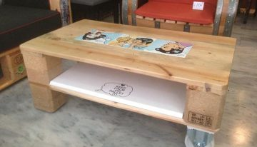 Pallets Made Sofa and Wheeling Coffee Table