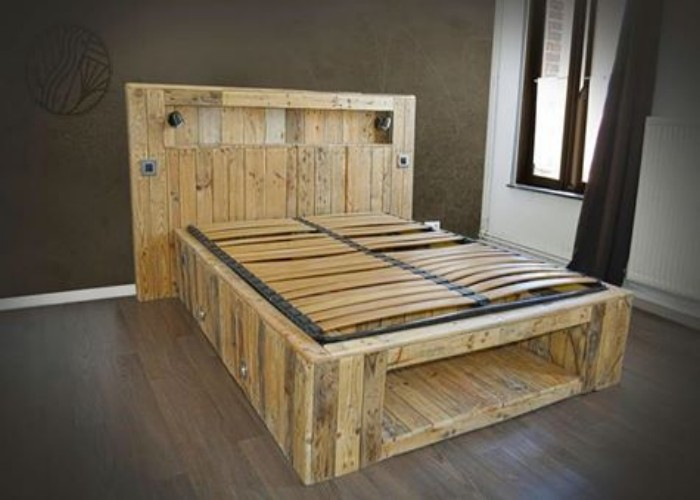 Big Pallets Made Lighting Bed Pallet Ideas Recycled
