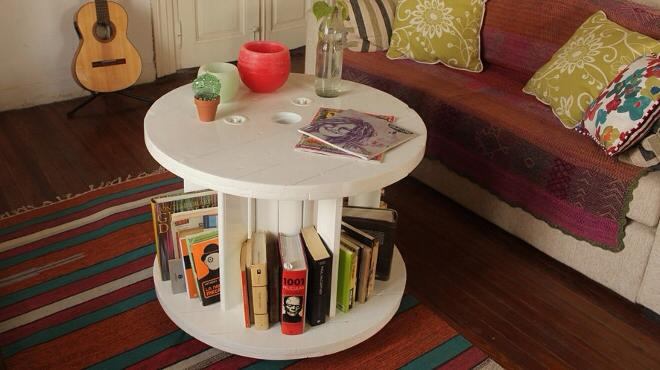 Cable Reel Book Shelve Recycled