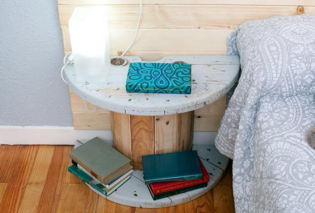 Cable Reel Upcycled to Side Bed Table