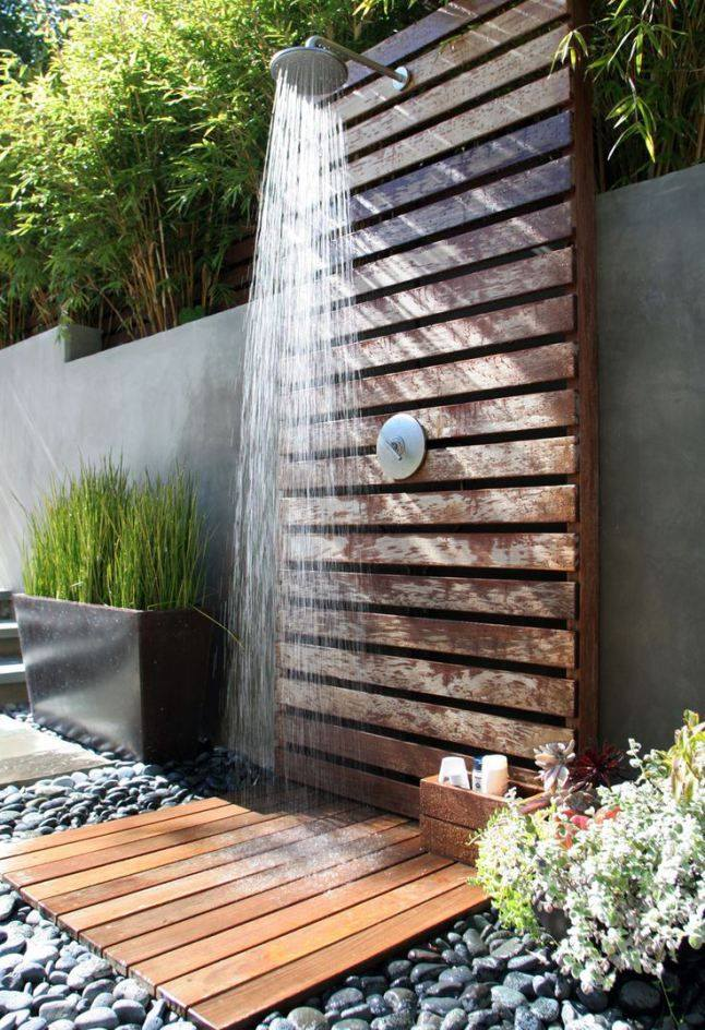 Pallets Made Outdoor Bathing Shower Ideas Pallet Ideas