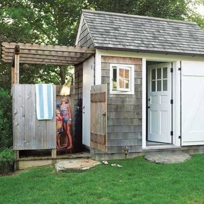 Pallets Attached Bathing Shower Ideas