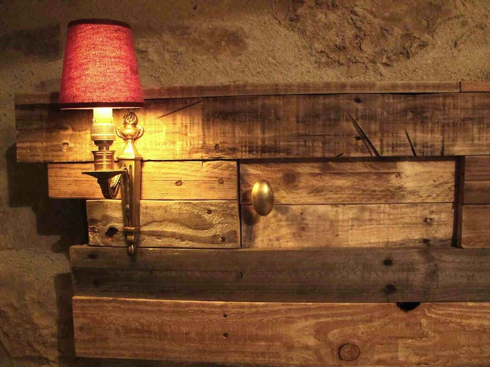Lighting Pallets Bed Headboard With Side Table Pallet Ideas