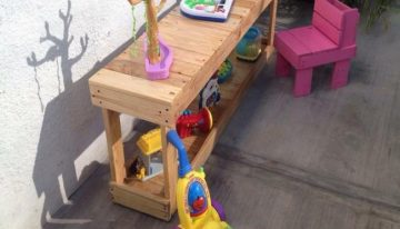 Pallets Made Kids Playing Bench and Chair