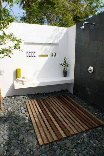Pallets Outdoor Shower in Garden