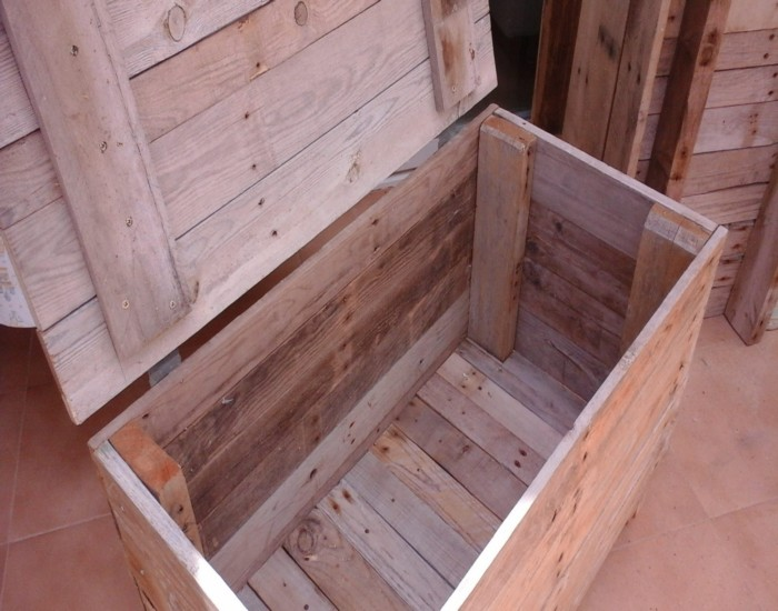 Storage blanket box made from reclaimed pallets pallet for Storage box made from pallets