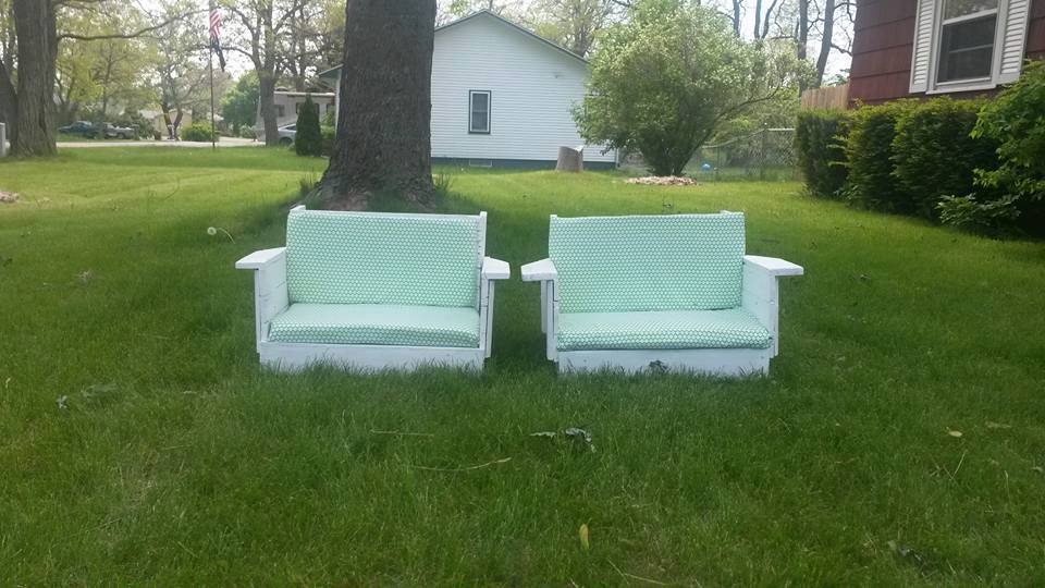 Overstuffed chair and a half slipcovers on all repurposed furniture