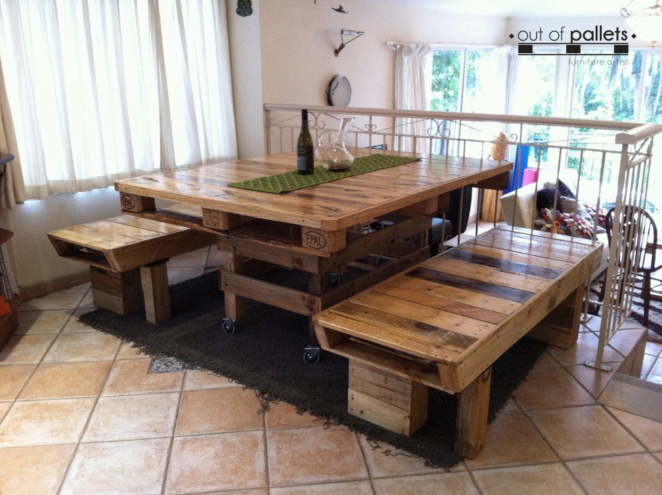 Dining table out of pallets wood pallet ideas - How to make table out of wood pallets ...