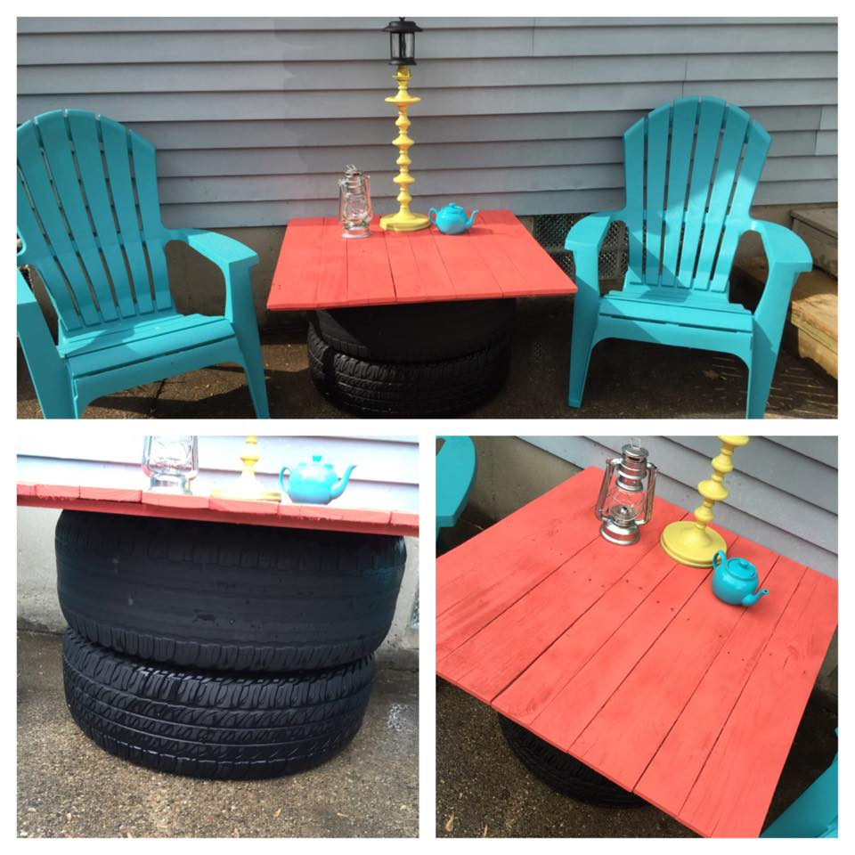 Old tires upcycled with pallets top table pallet ideas for Best upcycled projects