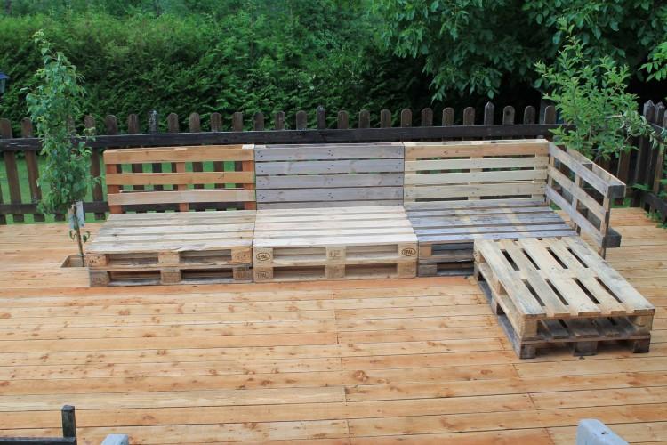 Pallets made furniture under garden gazebo deck pallet for Garden decking from pallets