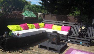 Pallets Made Garden Deck with Furniture