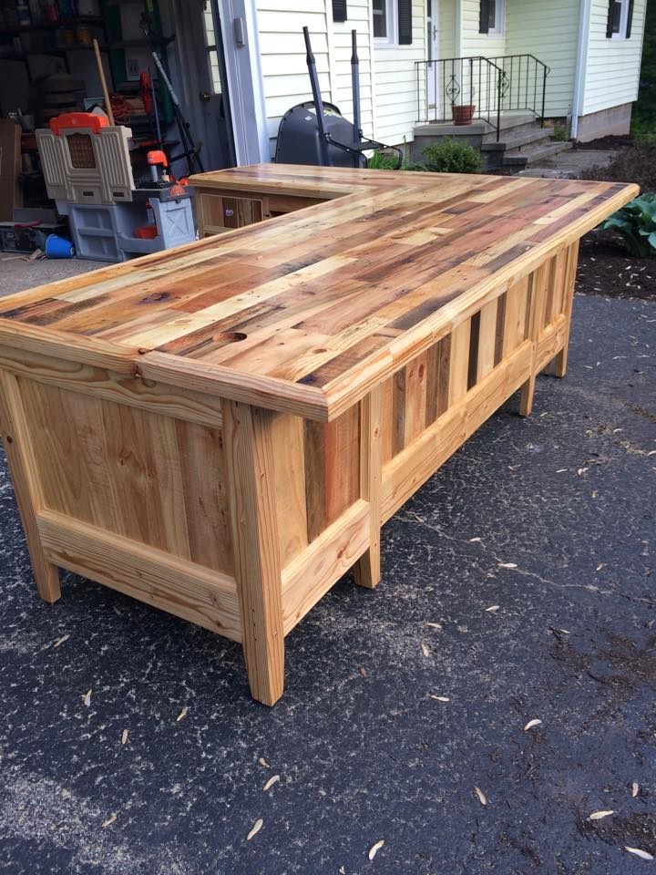 Pallets Wood Made Big Office Table Pallet Ideas