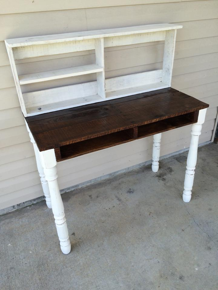 Pallets Made Reclaimed Desk with Shelves | Pallet Ideas