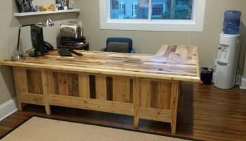 Pallets Wood Made Big Office Table