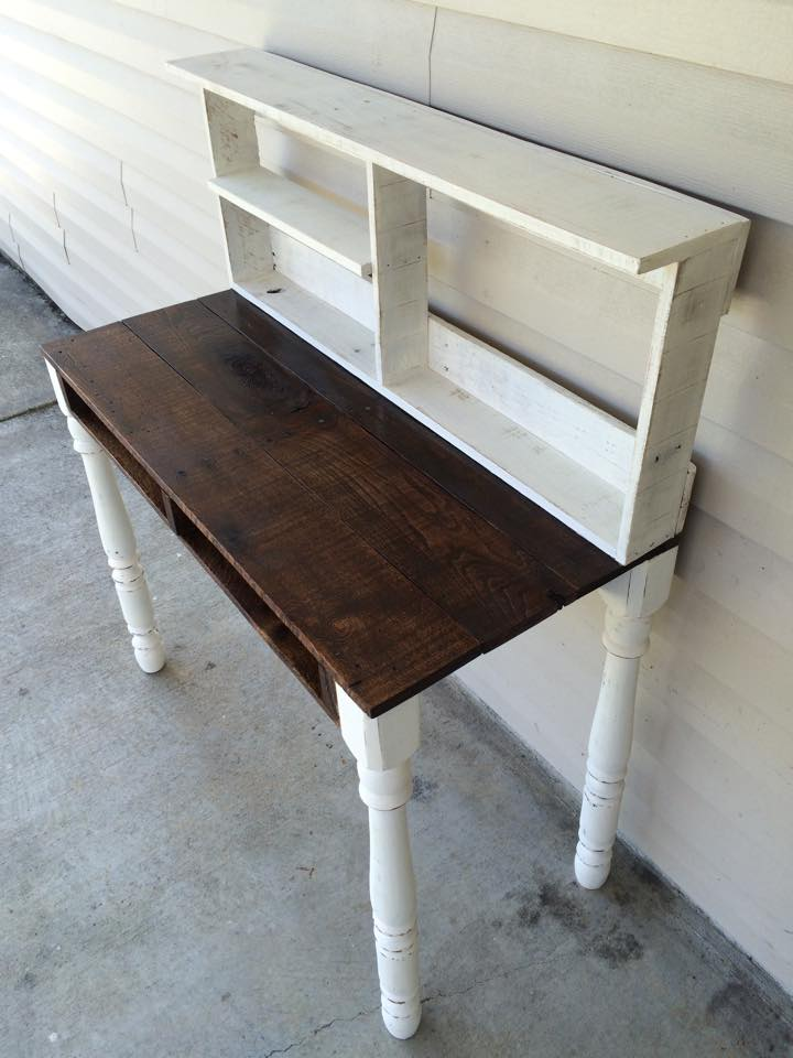 Pallets Made Reclaimed Desk With Shelves Pallet Ideas