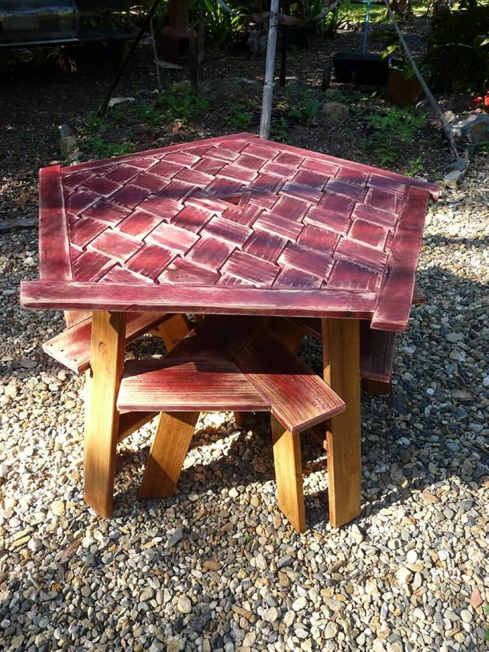 DIY PenTriStarGon Pallets Dining Table with Stools ...