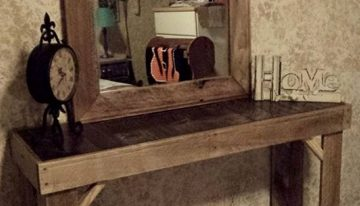 Reclaimed Pallets Wood Entryway Table with Mirror