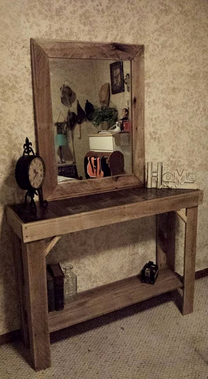 Rustic Foyer Mirror : Reclaimed pallets wood entryway table with mirror pallet