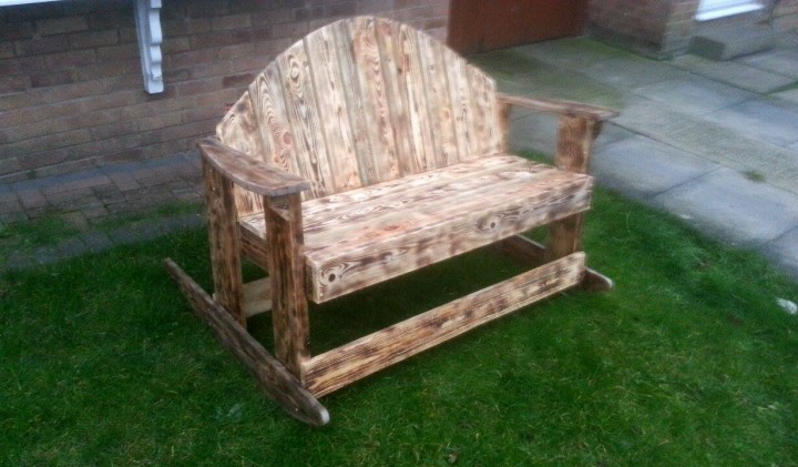 Recycled Pallet Rocking Bench Pallet Ideas