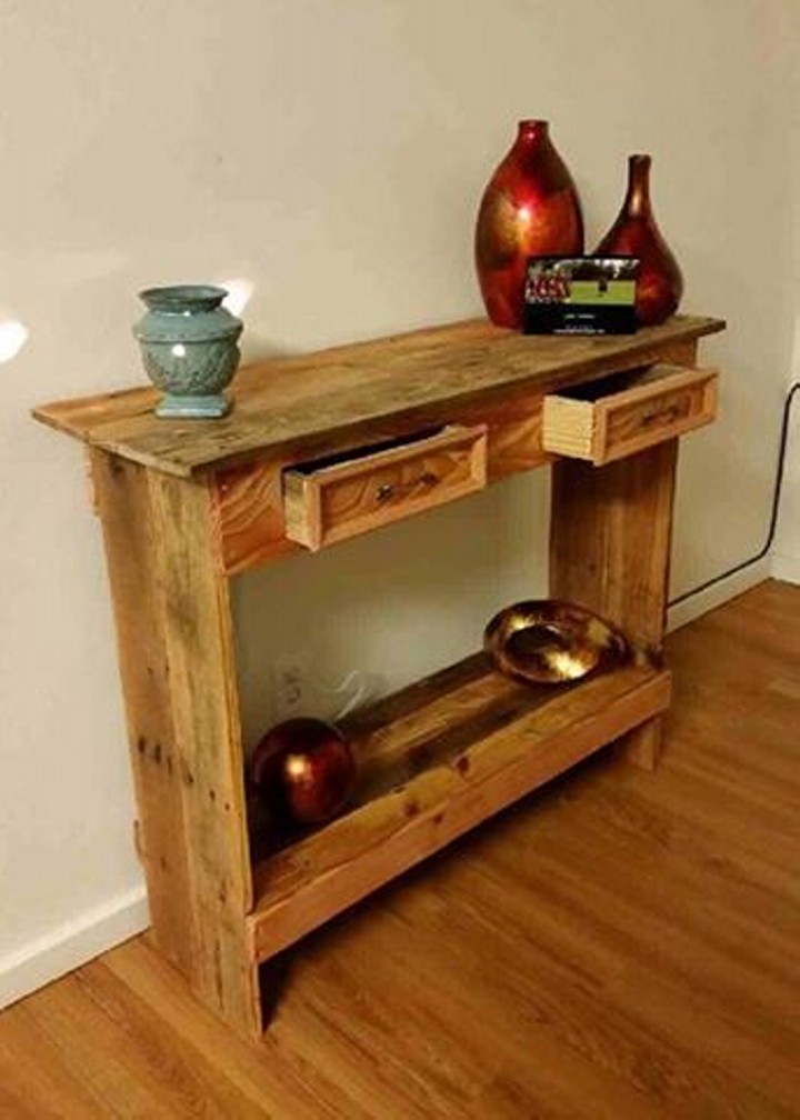 Rustic Pallet Wood Entry Table Hallway