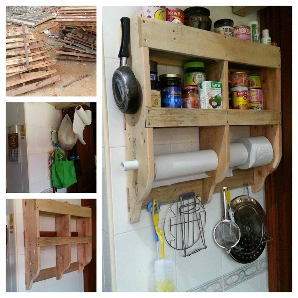 Diy kitchen shelf with wood pallets pallet ideas for Pallet kitchen ideas