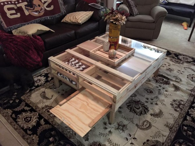 Pallet Coffee Table With Storage Pallet Ideas Recycled Upcycled Pallets Furniture Projects