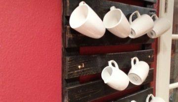 Pallet Wooden Kitchen Cups Rack