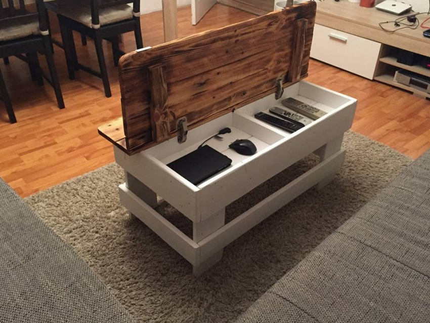 wood pallet coffee table with storage pallet ideas. Black Bedroom Furniture Sets. Home Design Ideas