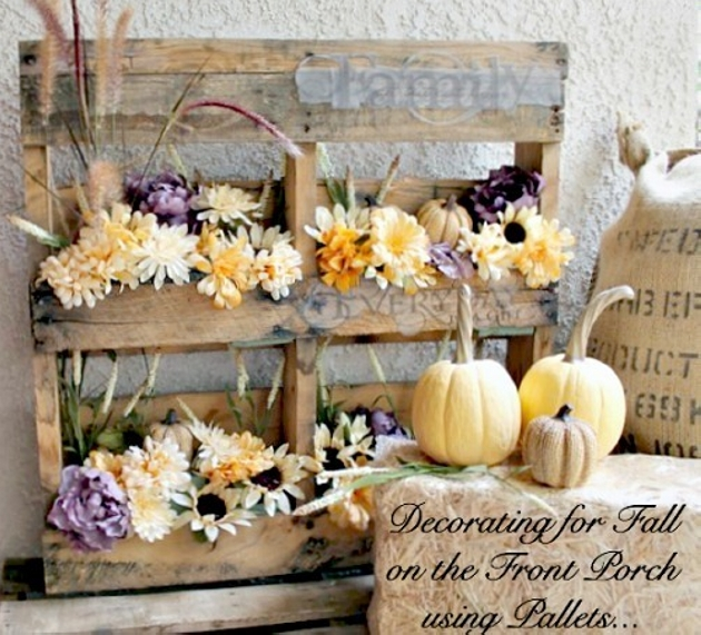 Fall Flowers in Wood Pallets