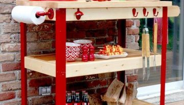 Pallet BBQ Table on Wheels