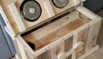 Wood Pallet Dog Food Bowl with Storage
