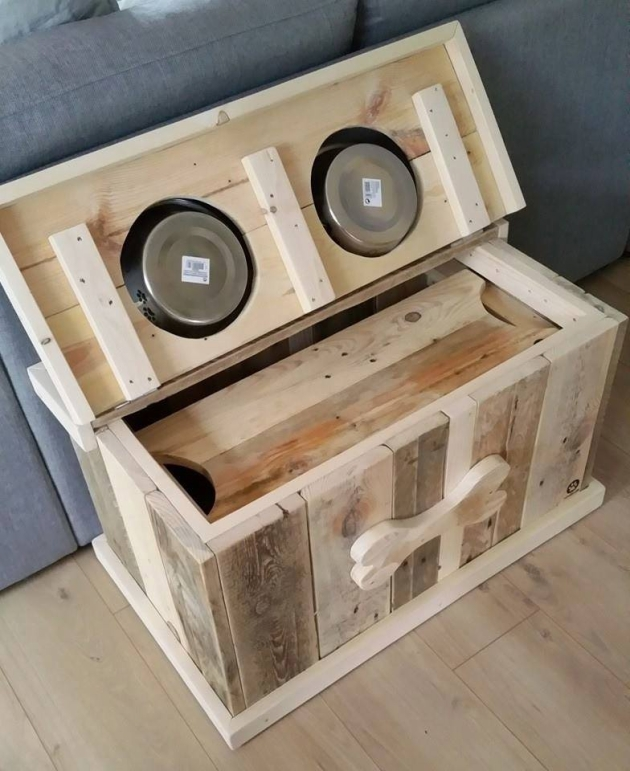 Wood Pallet Dog Food Bowl with Storage | Pallet Ideas ...