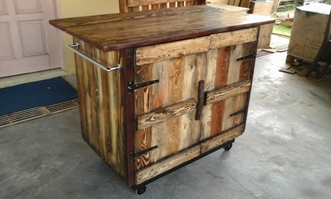 Pallet rustic kitchen island pallet ideas recycled for Pallet kitchen ideas