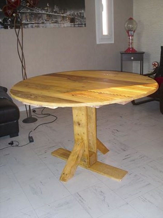 Pallet kitchen round table pallet ideas recycled for How to make a pallet kitchen table