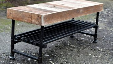 Reclaimed Pallets with Pipes Bench