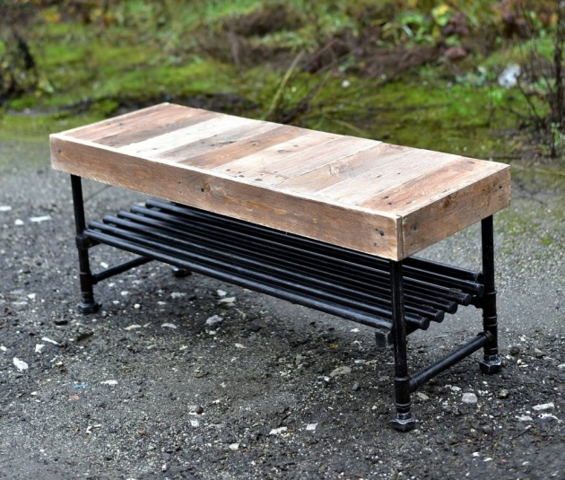 Reclaimed pallets with pipes bench pallet ideas